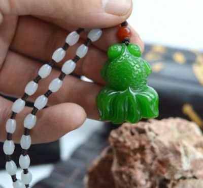 Chinese natural jade hand-carved green goldfish amulet pendant+Free Necklace