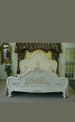 French style double bed frame in cream/off white