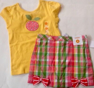 NWT GYMBOREE 2pc OUTFIT SUMMER SPRING Yellow Peach Top/Plaid Skort Girl 4/4T $33