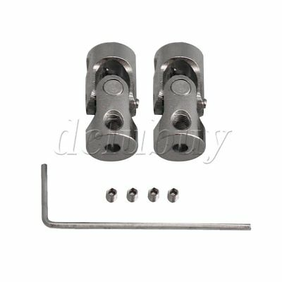 2xOD 8MM ID 2.3-2.3MM Steel Rotatable Universal Joint Connector Coupler