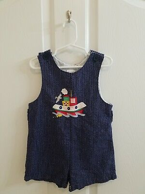 Vintage Boys Blue Plaid Nautical Sailboat Boat Applique Jon Jon Shortall Size 4T