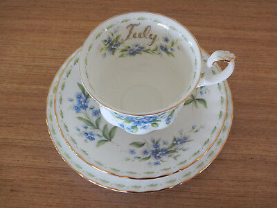 Royal Albert Tea Trio - Flower of the Month - July - Forget-me-not - Vintage 70s