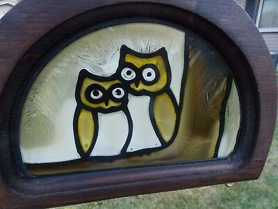 """Vintage Faux Stain Glass- Owl Chained Decorative Hanging Art 28""""- Chain- Flaws"""