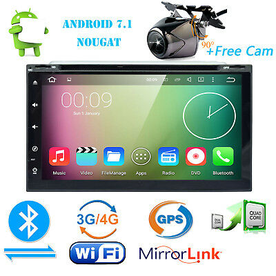 7in 2DIN Android 7.1 4G WIfi GPS Navi Stereo Car DVD Radio Player BT+Free Camera