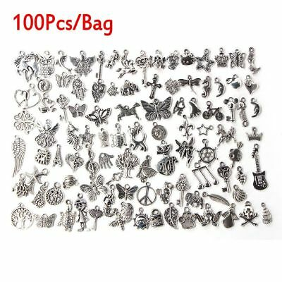 Wholesale Lots 100pcs Bulk Lots Tibetan Silver Mix Charm Pendants Jewelry DIY
