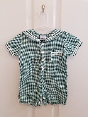 Vintage Baby Toddler Boy Green Plaid Collar Shortall Size 18 Months