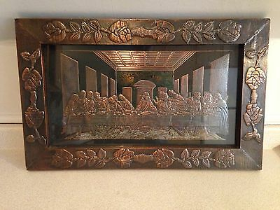 Stunning Large & Rare Antique High Relief Copper Last Supper In Beautiful Frame