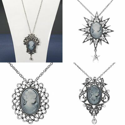 Women Vintage Crystal Resin Beauty head Sweater Chain Pendant Necklace Jewelry