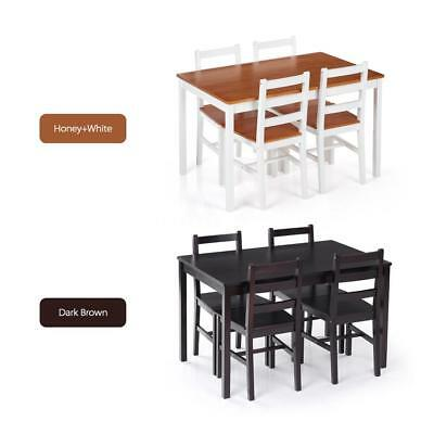 5 Piece Dining Set Pine Wood Table And 4 Chairs Kitchen Breakfast Furniture  F5E3