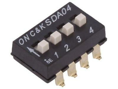 SDA04H1SBD Switch DIP-SWITCH Poles number4 OFF-ON 0.025A/24VDC 100MΩ