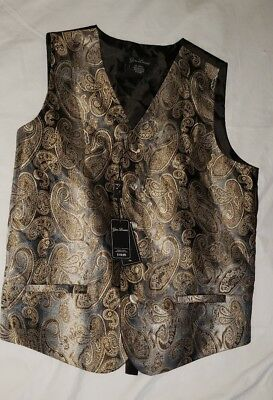Gino Lussari Boy's Paisley Patterned Vest Size 10/12 Gray Brown NEW