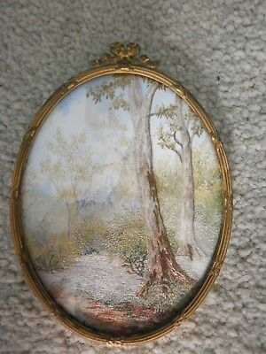 Vintage Oval Brass + Glass Framed Hand Stitched Silk Picture of Trees Landscape