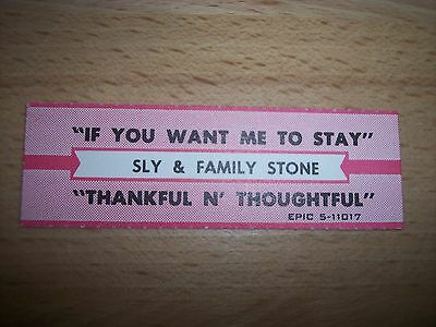 """1 Sly Family Stone If You Want Me To Stay Jukebox Title Strips 7"""" 45RPM Records"""
