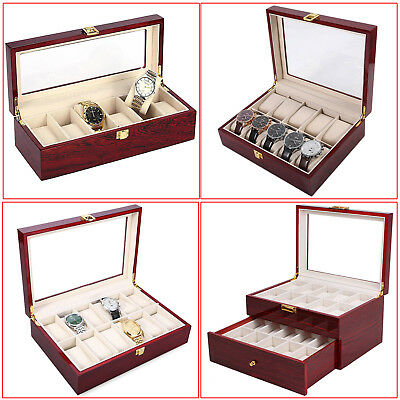 6-20 Grids Glass Watch Box Case Organiser Bracelet Storage Display Wood Pillows