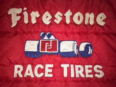 "Vintage 1960s PARNELLI JONES Firestone Race Tires Red Puffy Sz S Jacket ""RARE"""