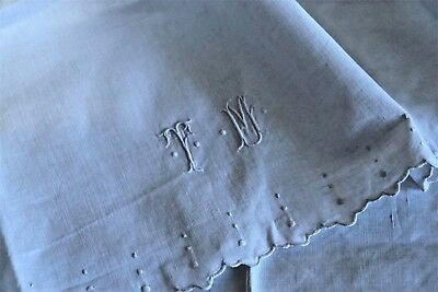 Set French antique hand embroidered mono TM dots linen baby sham + sheet c. 1900