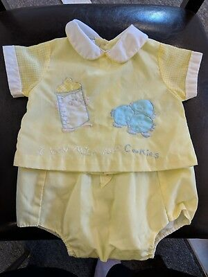 Vintage Cradle Togs 2 Pc Boys Newborn Infant Yellow Outfit +Diaper Cover