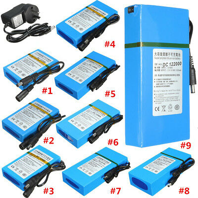 DC 12V Rechargeable Portable Super Li-ion Battery For Camera + AU Plug Charger