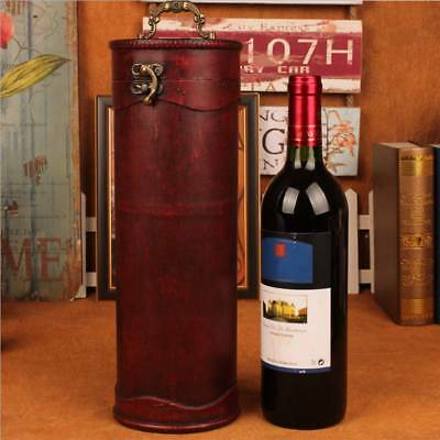 Wood Antique Single Bottle Wine Box Case Holder Cylinder Wine Receiving Gift Box
