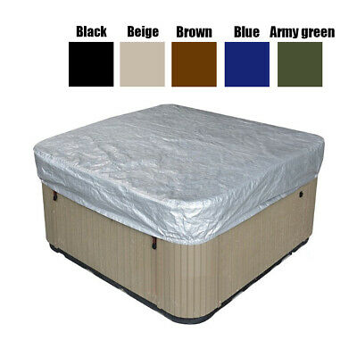 Hot Tub Spa Cover Cap Waterproof Protector Oxford Fabric Silver 236x236x30cm