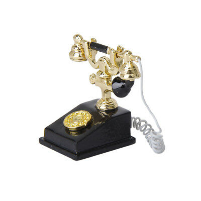 Black and Gold Metal Telephone Desk Accessory For 1:12 Dollhouse Decoration