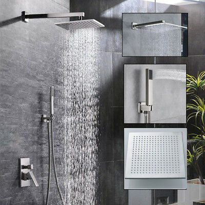 Wall Mounted Brushed Nickel Shower Faucet Combo Set 8-16 inch Rainfall Shower