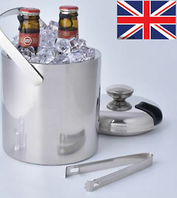 2 Layers Stainless Steel Ice Bucket Wine Beer Barrel Champagne Handle COU