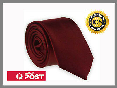 Wine Dark Deep Red New Slim Solid Mens silk Tie groom wedding skinny Necktie