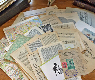 Vintage craft paper pack.  Music Maps Dictionary Encyclopedia Scrapbook A3 to A5