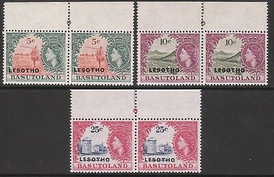 LESOTHO 1966 #115A #116A #117A VARIETY WEAK ENTRY Pos 1/3 MNH/MUH MINT STAMPS