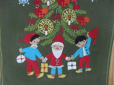 "Antique/Vintage Scandinavian Hand Worked Wool Hanging""On Linen""Christmas Scene"""