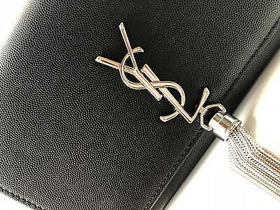 Yves Saint Laurent Bag Black Classic Fancy Unique YSL Leather Silver Evening