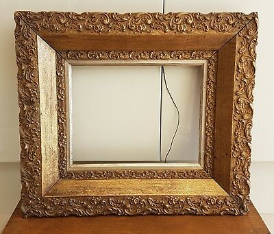 19th Century Antique French Rococo Gold Gilt Wooden Wood Picture Frame Victorian