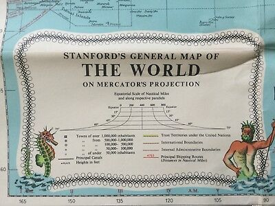 1968 STANFORDS GENERAL COLOUR MAP OF THE WORLD ON MERCATORS PROJECTION loxodrome