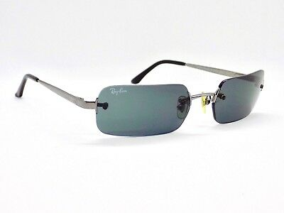 Ray Ban Rimless Sidestreet Rectangle Wraps RB3292 Sunglasses & Case