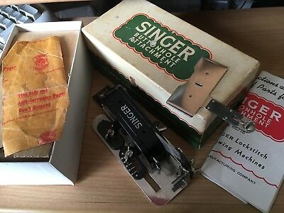 Singer Button Hole Attachment Vintage In Box + Instructions Old Collectable