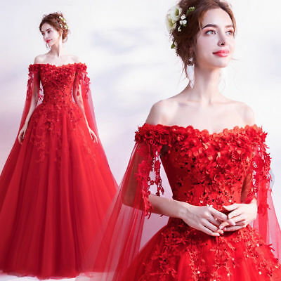 FZ42 Red Floral Wedding Bridal dress Formal Prom Party Ball Gown Evening Gift