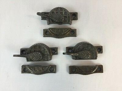 3 Sets Antique Vtg Eastlake Victorian Window Sash Latch Lock Pulls Cast Metal