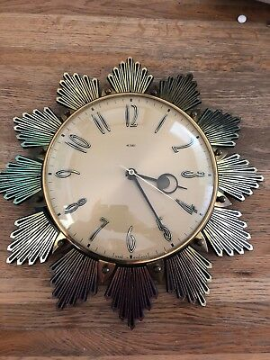 VINTAGE METAMEC SUNBURST STARBURST WALL CLOCK / made in england