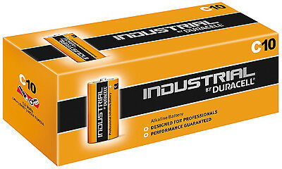 GENUINE 10 x DURACELL C SIZE INDUSTRIAL PROCELL ALKALINE BATTERIES LR14 MN1400