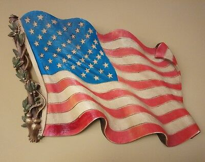Vintage American Flag Wall Plaque Burwood Products 1970's Red White Blue