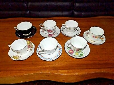 Vintage Lot of 7 Beautiful Victorian Style Bone China Cups Saucers Royal Vale