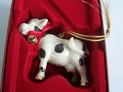 Lenox Holiday Udderly Christmas Ornament Cow 2005
