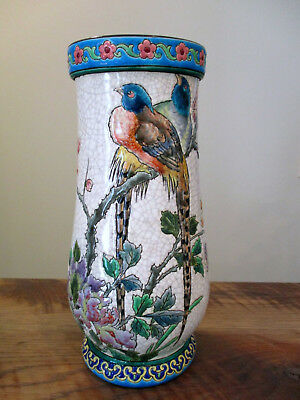 Vintage Chinese Famille Verte Birds Flowers Butterflies Crackled Vase 10-1/2""