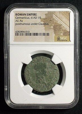 AE As of Roman General Germanicus , Large SC reverse 19 AD  NGC Certified 4010