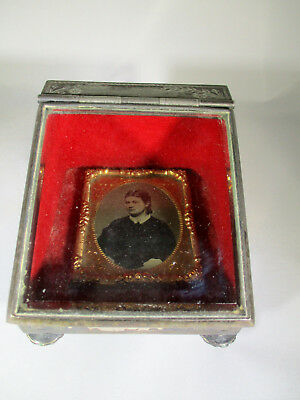 Victorian Meriden B. Silverplate Mourning Box Velvet Lining w/Woman Photo & Hair