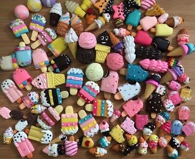 New Kawaii Assorted Resin Ice Cream Cabochons 40 Pcs With Premium Styles