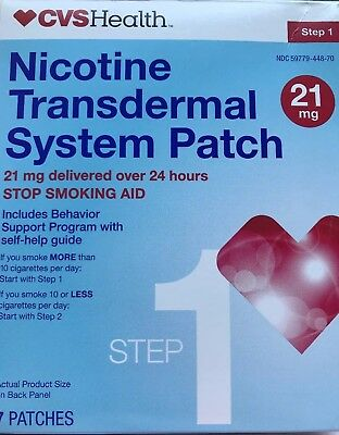 Cvs Health Nicotine Transdermal System Patch 21Mg 5 Patches Step 1