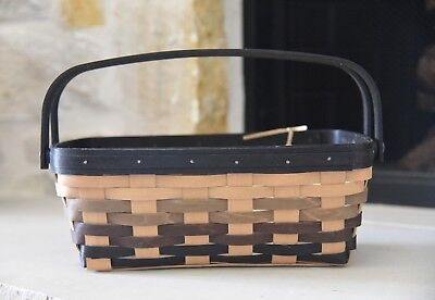 Longaberger 2011 Eclipse Medium Chore Basket and Protector, Black Accents NEW