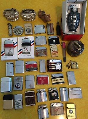 Lot of 40 vintage lighters zippo Playboy Coke Grenade Advertising  some rare